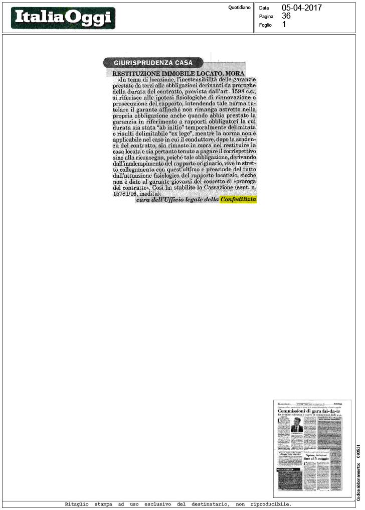 Italia oggi 5 restituzione immobile locato - Scrittura privata rilascio immobile locato ...