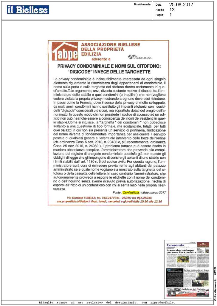Il biellese 25 privacy condominiale e nomi sul - Nomi agenzie immobiliari ...