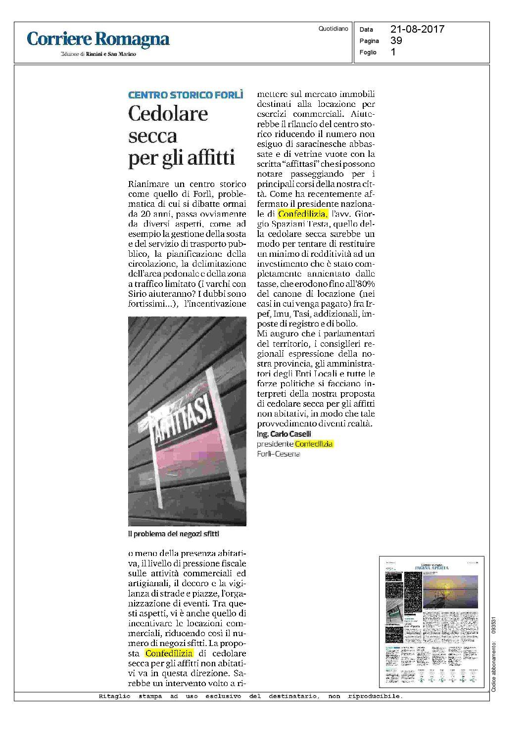 Corriere romagna 21 cedolare secca per gli for Acconto cedolare secca 2017