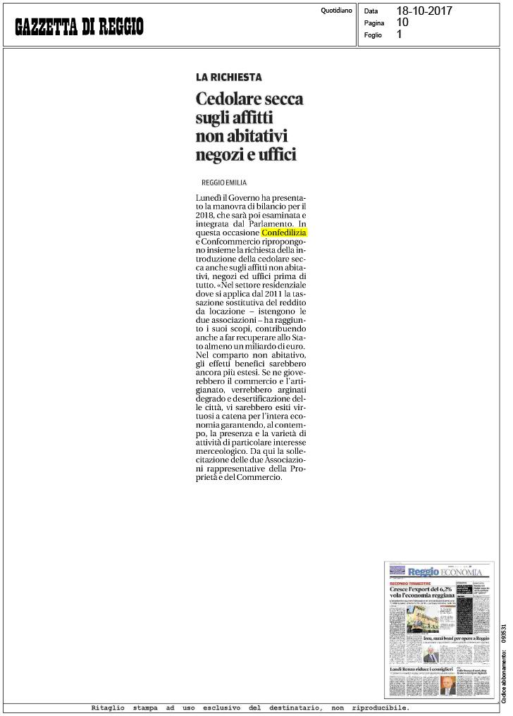 Gazzetta di reggio cedolare secca sugli for Acconto cedolare secca 2017