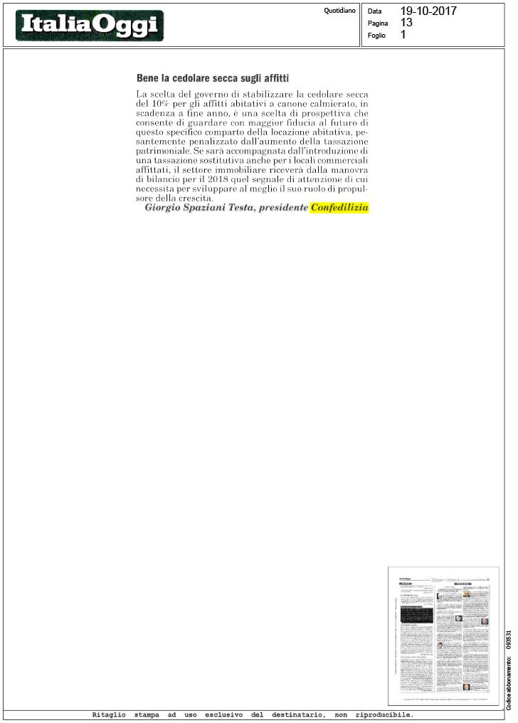 Italia oggi bene la cedolare secca sugli for Acconto cedolare secca 2017