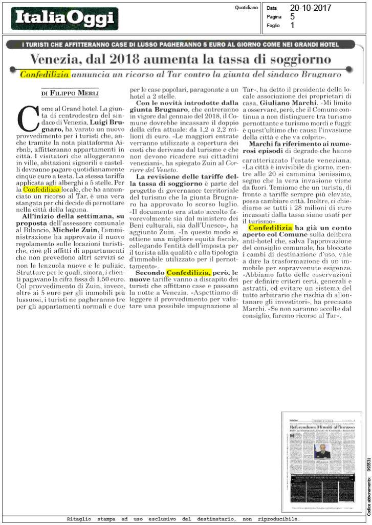 Italia Oggi - 20.10.2017 - Venezia, dal 2018 aumenta la tassa di ...