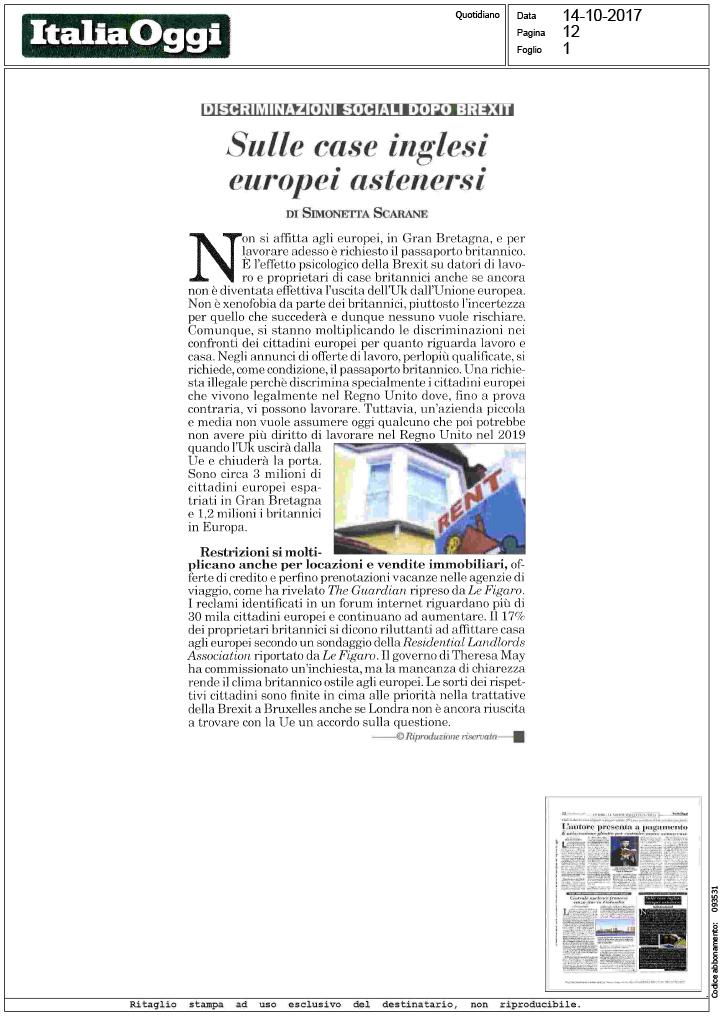 Italia oggi sulle case inglesi europei - Legge sulle locazioni ...