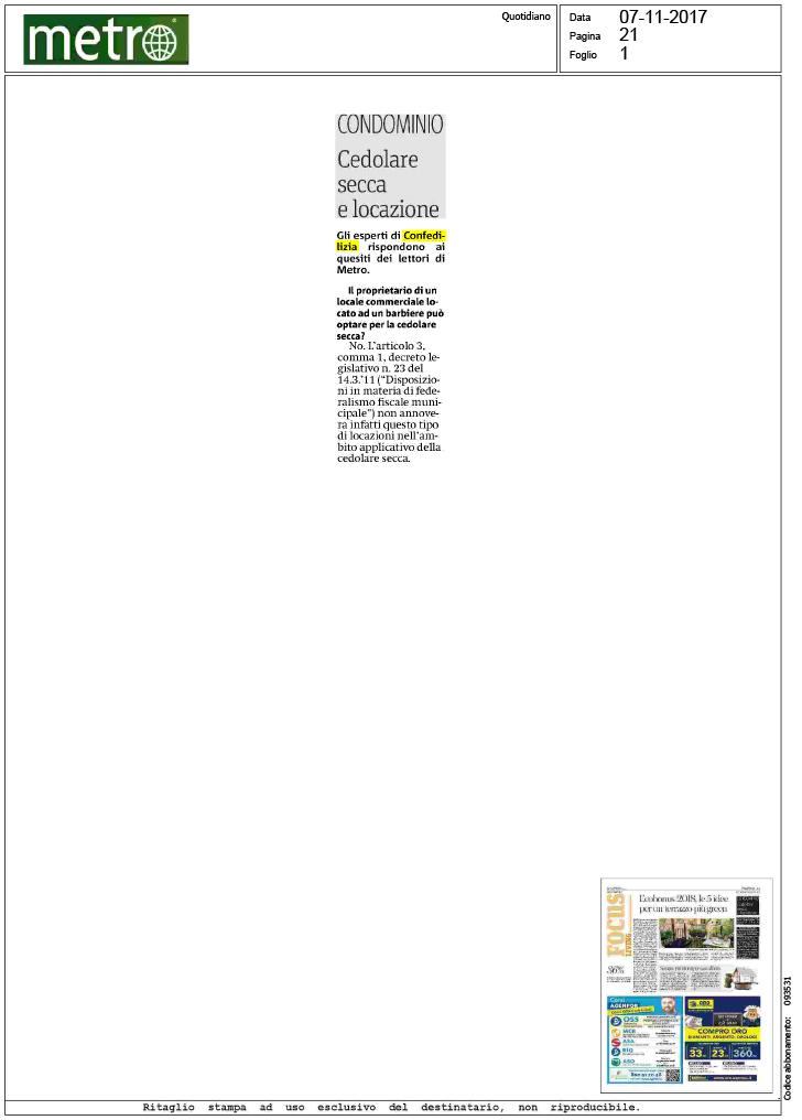Metro cedolare secca e locazione confedilizia for Acconto cedolare secca 2017