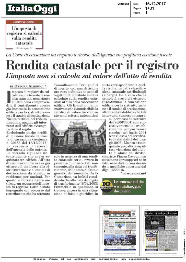 Italia oggi rendita catastale per il - Calcola imposta di registro ...