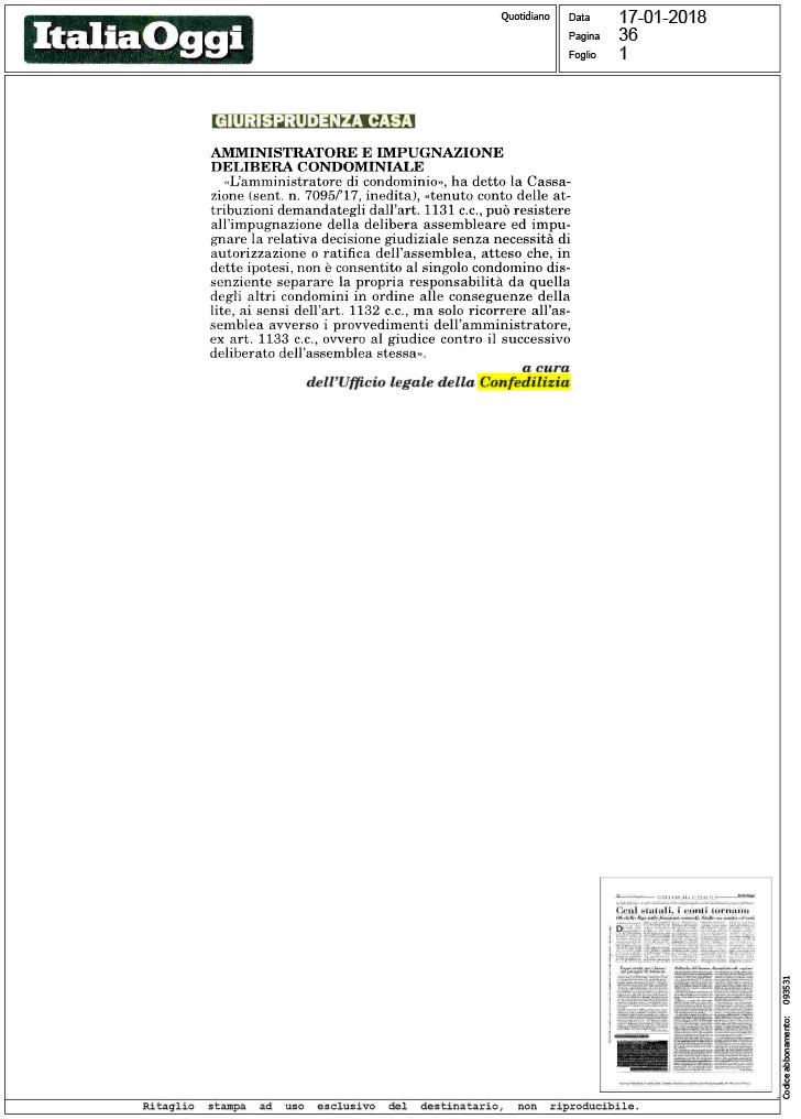 Italia oggi 17 amministratore e impugnazione for Impugnazione delibera condominiale