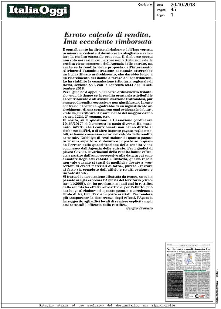 Italia oggi errato calcolo di rendita imu for Calcolo istat locazioni